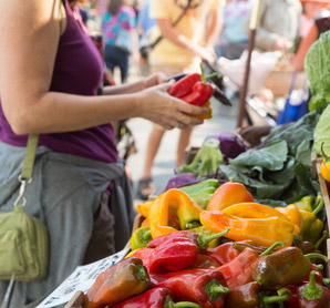 locally grown food at farmers market
